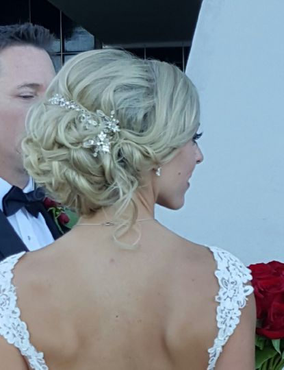 Updo with sparkling hair accessory