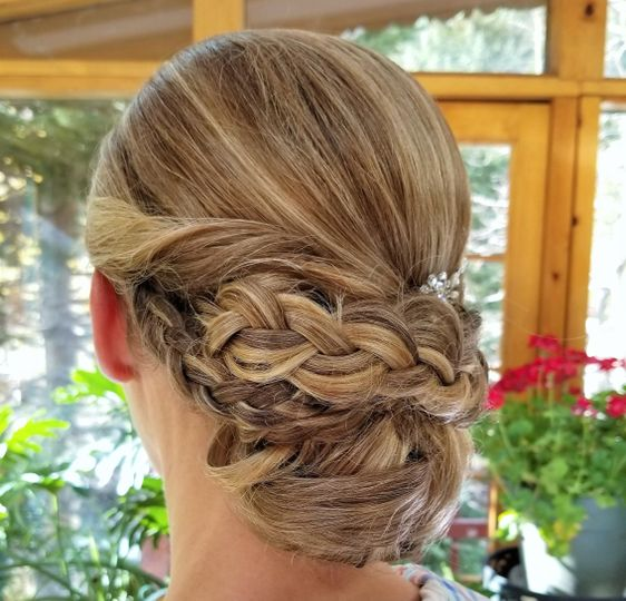 Braided updo for wedding