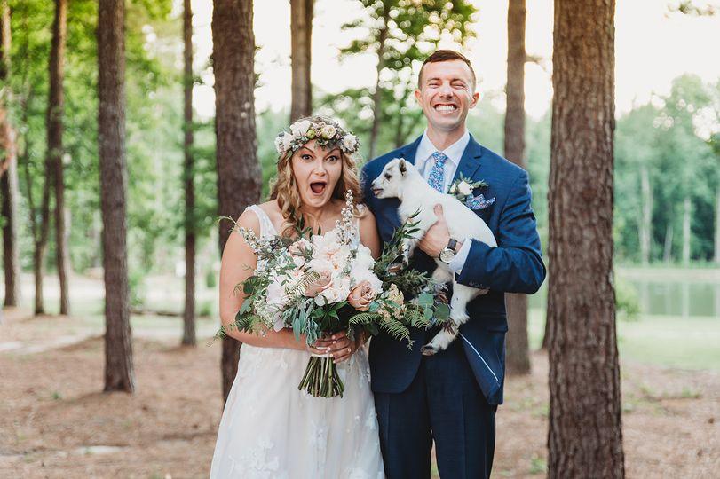 Bride + Groom + Maci the goat