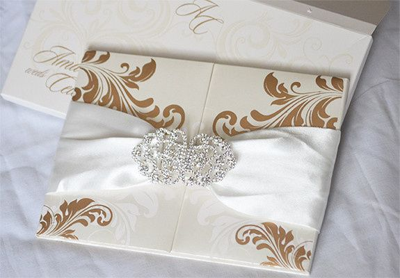 Silk box or folio invitations. Customizing the invitations in your color, theme and more details...