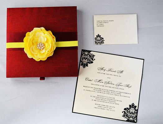 Silk/Satin box or folio invitations. Customizing the invitations in your color, theme and more...