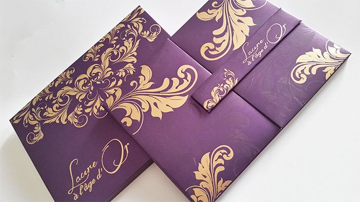 Silk / Satin folio or box invitations. Customizing the invitations in your color, theme and more...