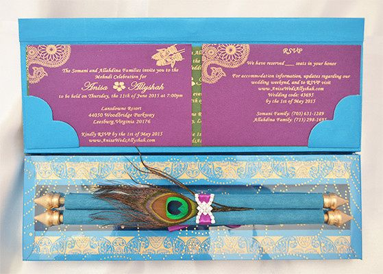 Peacock theme scroll invitations. Customizing the invitations in your color, theme and more details...