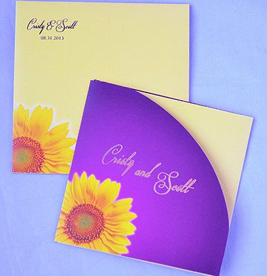 Sun flower, summer wedding foil print invitations. Customizing the invitations in your color, theme...