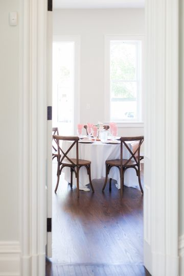 Dining table featuring pink table napkin