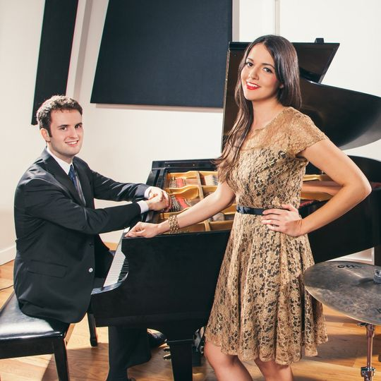Alex and Nora, co-founders and co-leaders of Nightingale Jazz Band, at The End studios.  Photo...