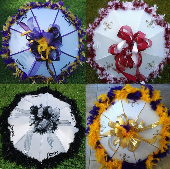 four cusom umbrellas