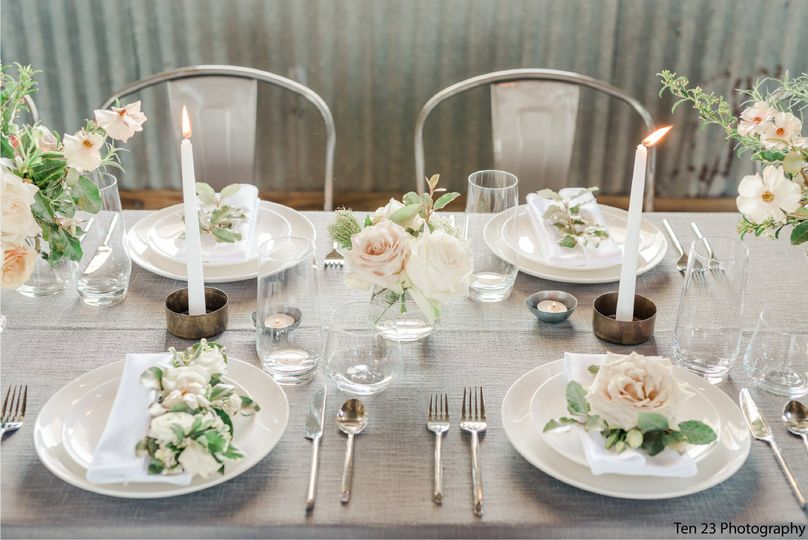 Classy white table setup