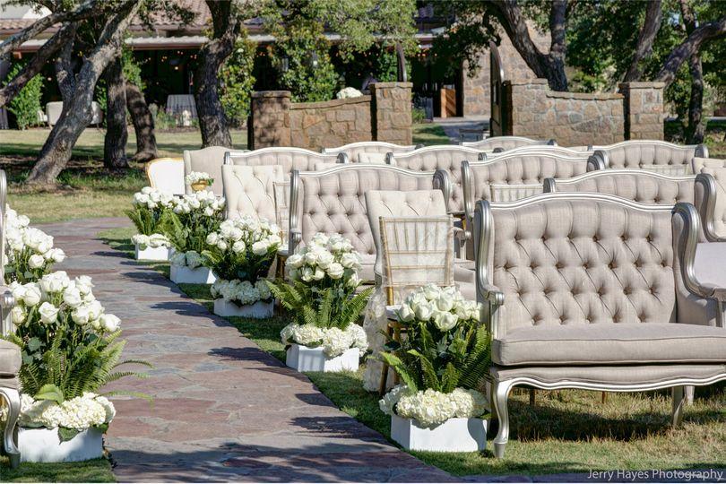 Fancy outdoor wedding setup