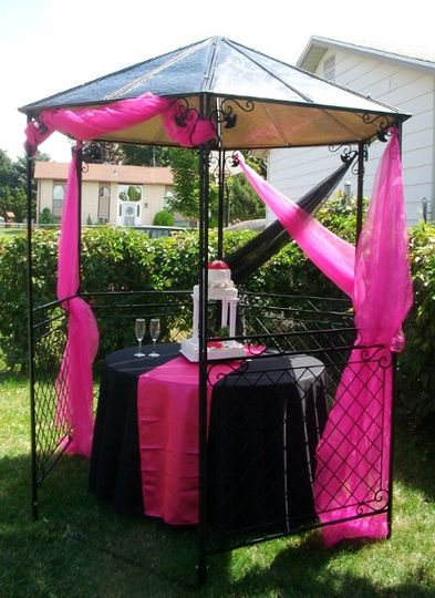 One of our two gazebo's offerred in either black or white. Can be used for the ceremony, cake...