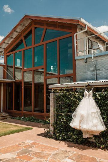 Wedding dress hung outside