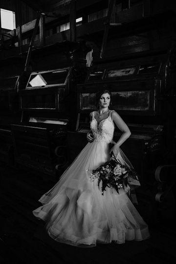 Bridal portrait in black and white