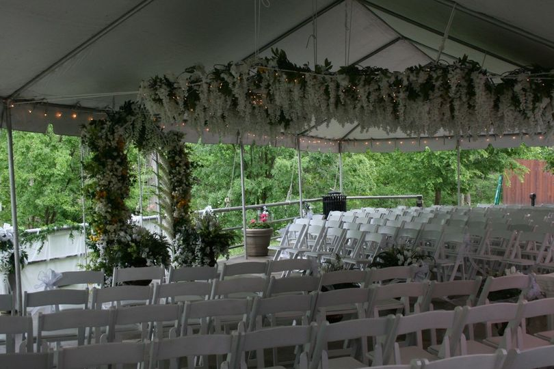 Patio Ceremony with Rented Tent and Chairs