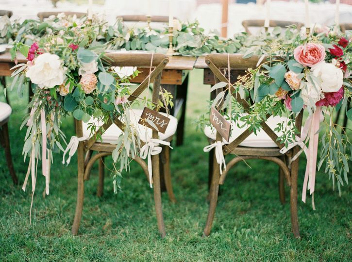 Flower decorations on the chairs