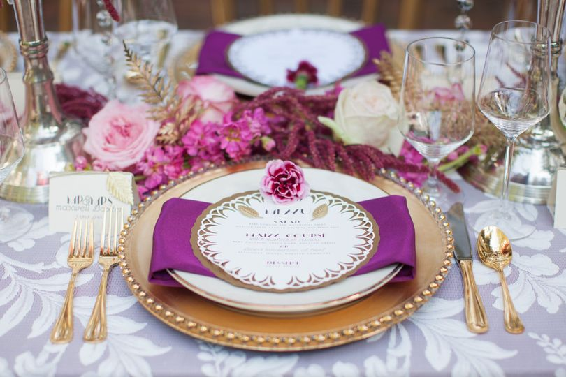 Gold and purple table setting