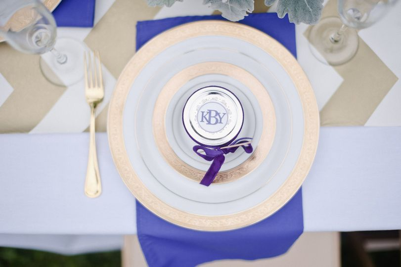 Indigo accent on table setting