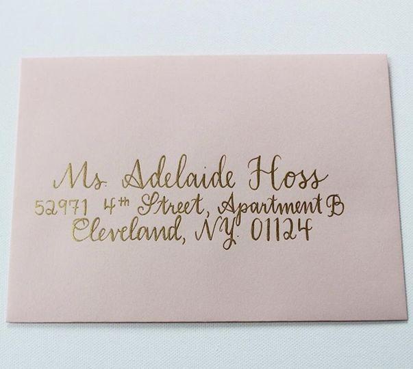 Blush envelope, gold ink