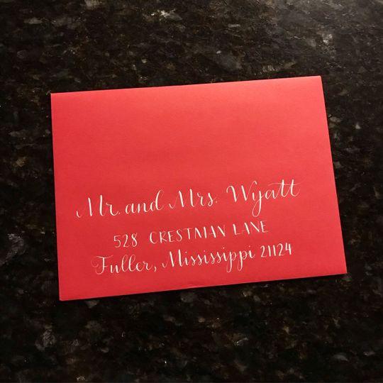 Red envelope, white ink