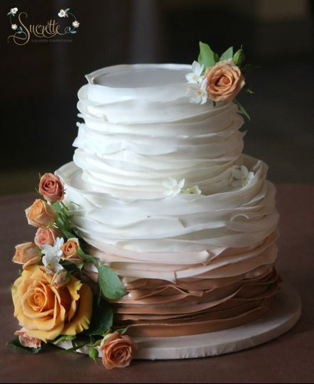 3-tier wedding cake with chocolate tier