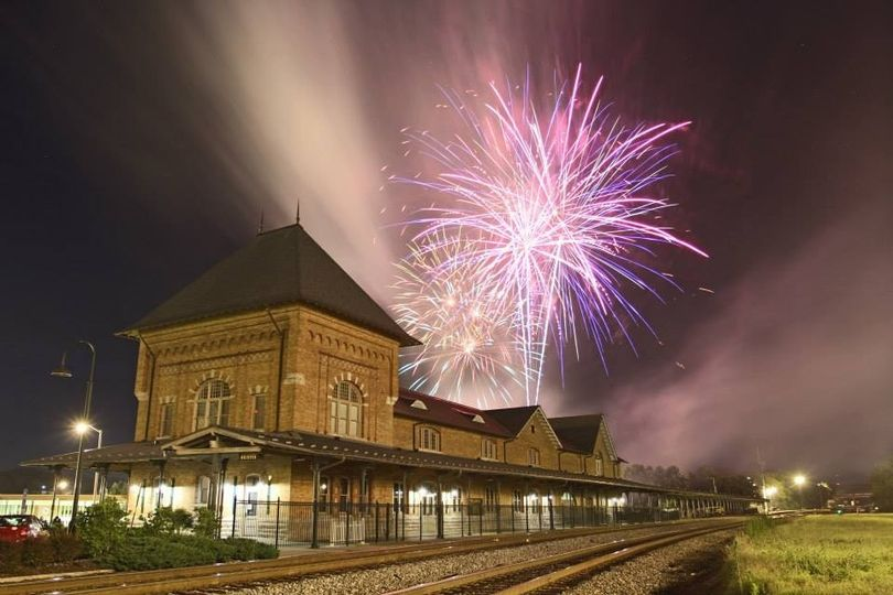 train station fireworks display
