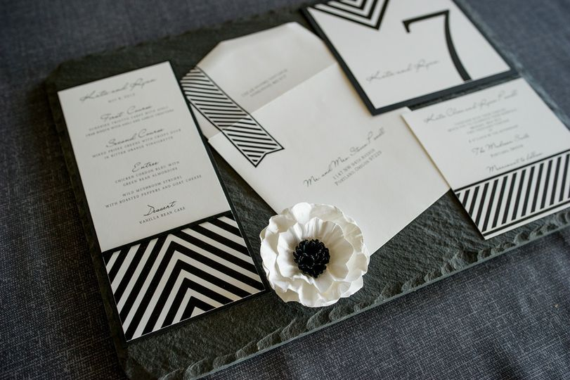 black and white custom invitation suite 2 by 1st c
