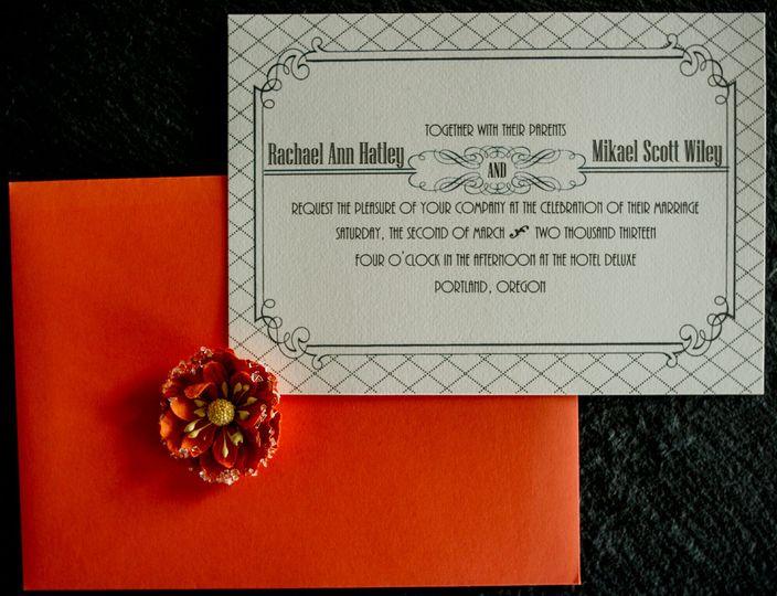 art deco invitation by 1st comes love custom in
