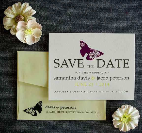 butterfly save the date 2 by 1st comes love cus