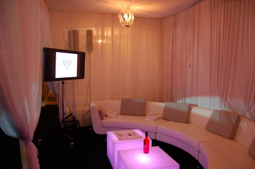 Lounge-Style Reception, complete with photo montage and lighting