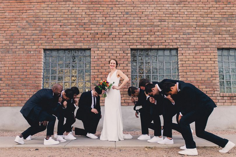 Bride pose with her 'men