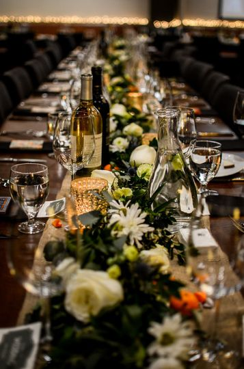 Long table with wine