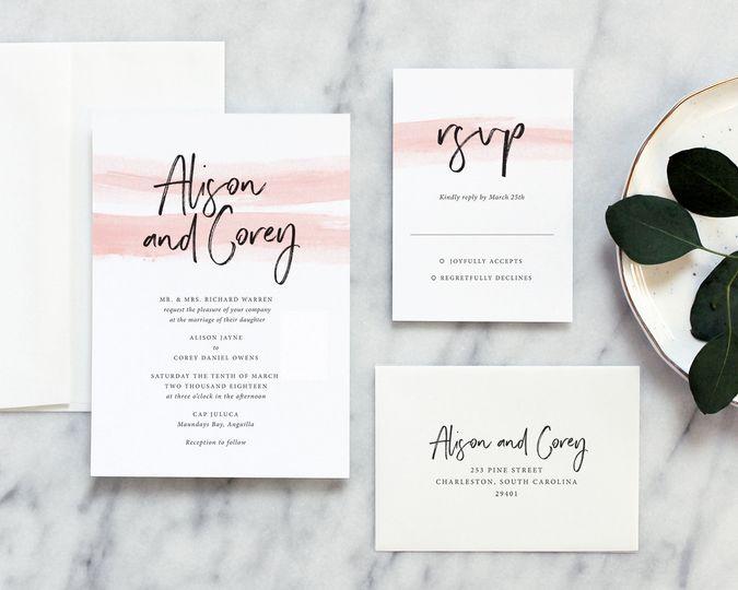 watercolor calligraphy wedding invites modern simp