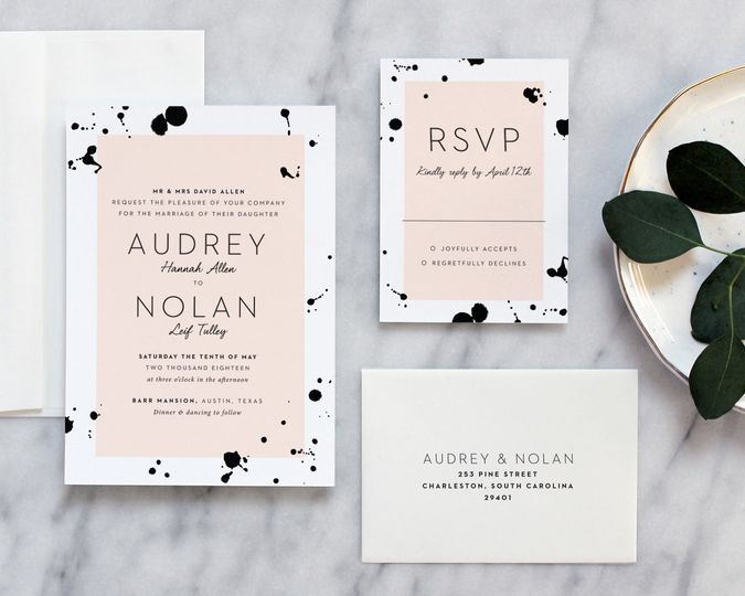 watercolor ink spots black and white wedding invit