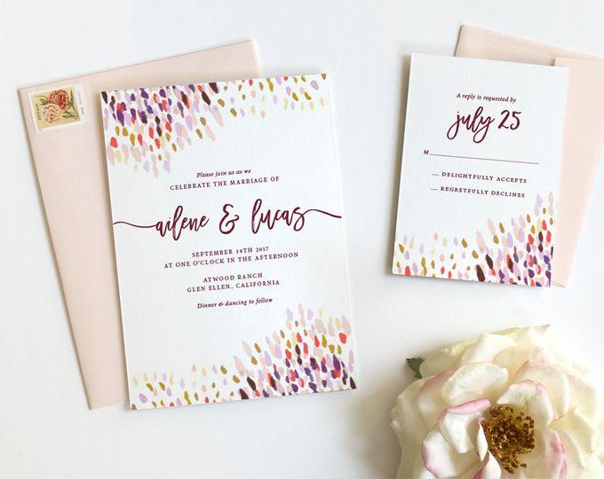 wedding invitations rustic boho watercolor fine da