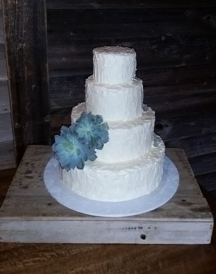 A 4 tiered rustic texture buttercream cake with succulents
