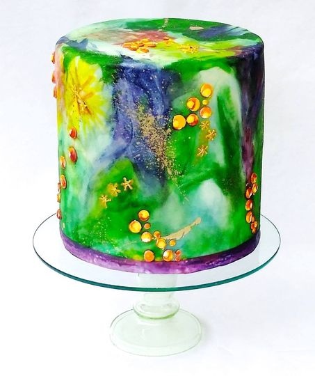 Neverland Themed Watercolor Cake - Can be colored to match your event - Mixed edible media