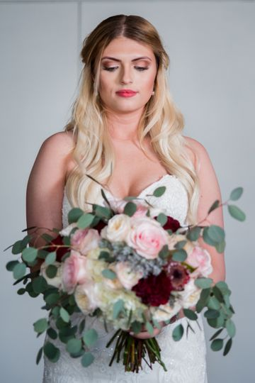 A gorgeous bride with her flowers