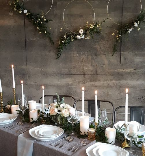 Dreamy, industrial tablescape