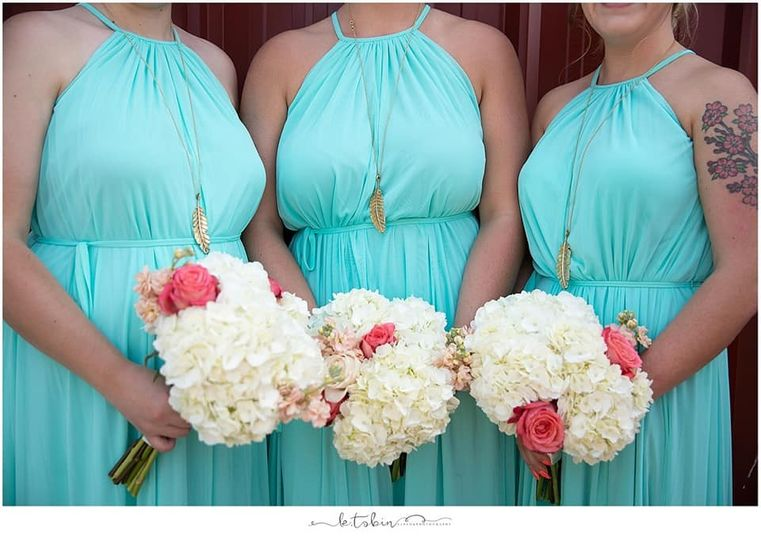 Compact, bridesmaid bouquets