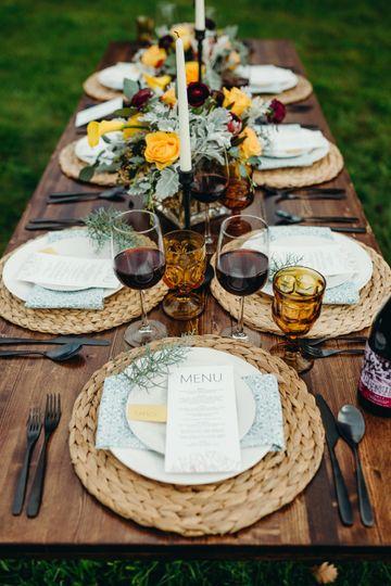 Vineyard wedding tablescape