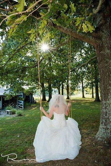 Bride in a swing