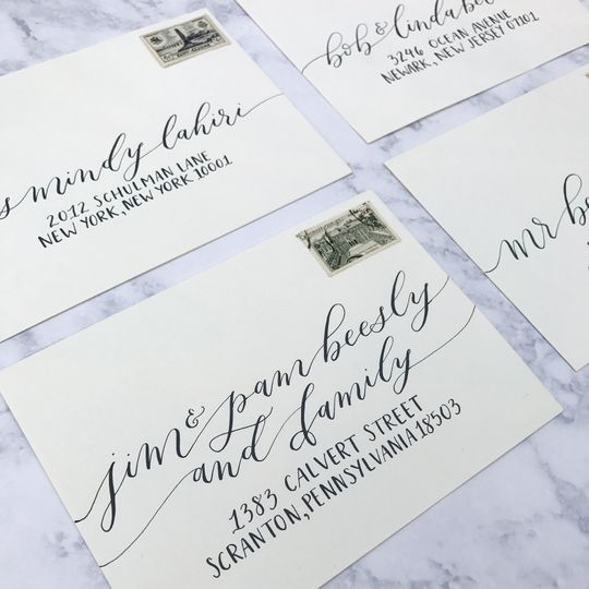 Custom envelope calligraphy