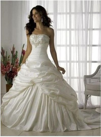 """Amaris"" Ivory Sequined Taffeta empire Wedding dress  Strapless Taffeta wedding gown with beaded..."