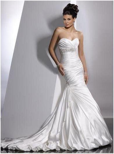 Sleek Satin fishtail wedding dress customised in sizes 6-18