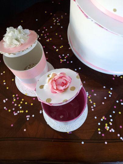 Miniature pink rose garden boxes