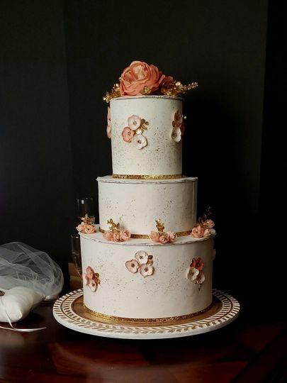 Golden rose cake