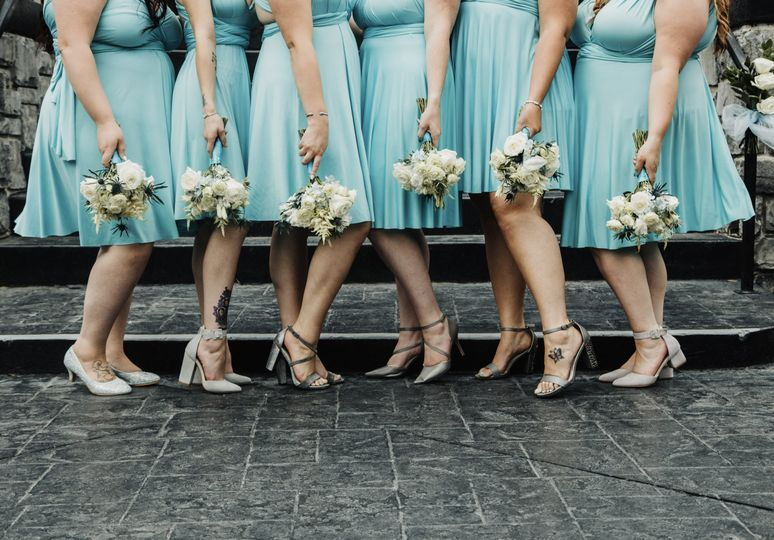 Bridesmaids and bouqets