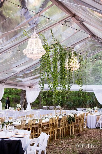 Clear top tent with chandelier