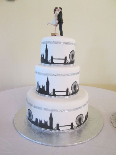 London style edible images on a fondant covered cake