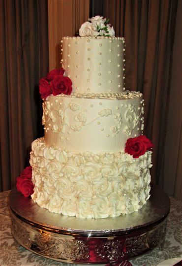 Wedding cake with Swiss dots