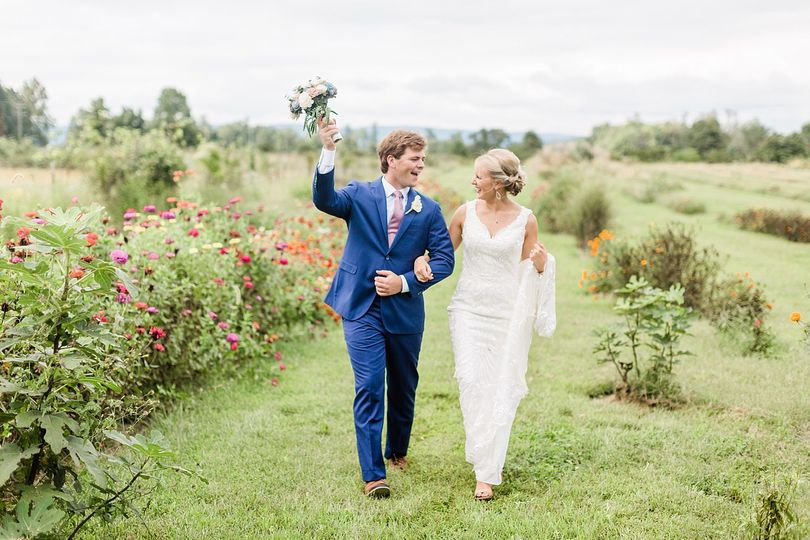 Newlyweds taking a walk